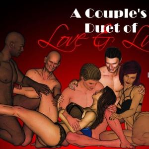 Egy pár szerelmes és kéj duettje